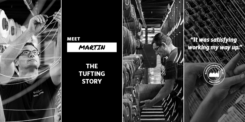 The Tufting Story banner with Martin working